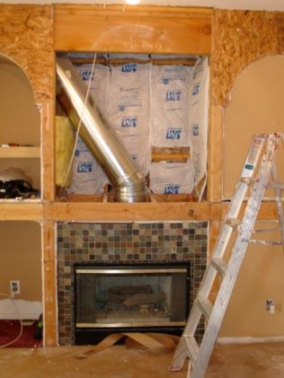 Fireplace wall insulated