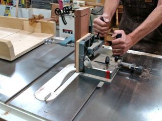 Tenoning jig, notice sled with stop block used to cut shoulders