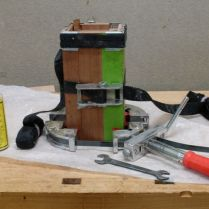 Three clamps, glued together, cure overnight