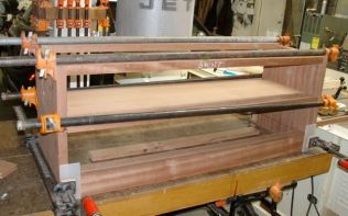 First glue up completed, shelf, bottom and top stretchers