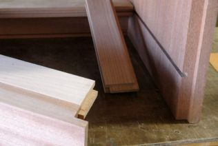 Detail of back stretcher and side drawer web