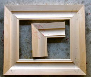 Frame with trial corner sample