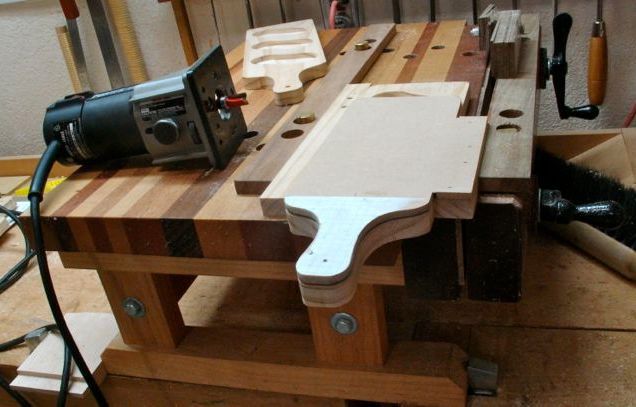 Blank clamped to template, handle routed