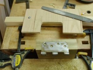 Hinge mortise jig test in scrap wood