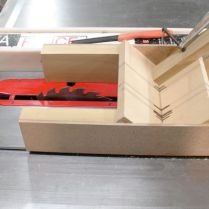 Tablesaw jig showing stop block.