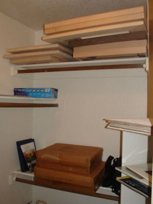 Assembled frames in Diane's closet