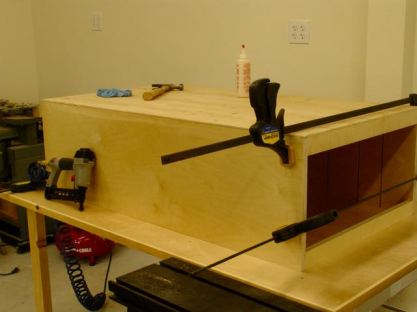 Drawer Unit glued, clamped, and nailed