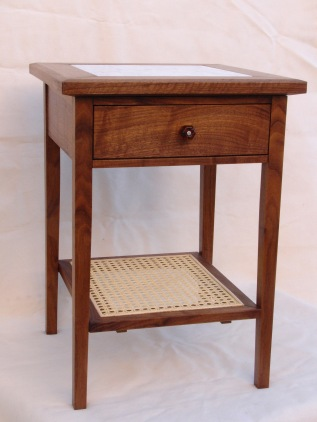 Side Table: Walnut, Woven Cane, & Marble