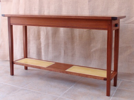 Hall Table: African Mahogany & Woven Cane