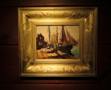 Anthony Thieme Painting in Ocean Waves Frame