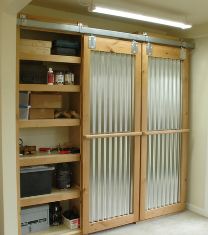 Open; Alder with corrugated tin & Sliding Barn Doors; My Way and Completed! | Woodworks by John