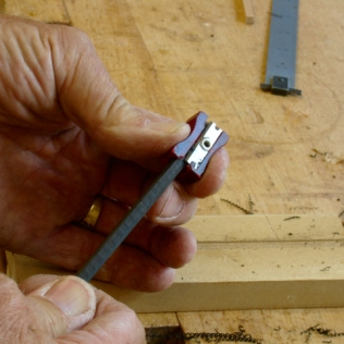 Sharpen one end with pencil sharpener
