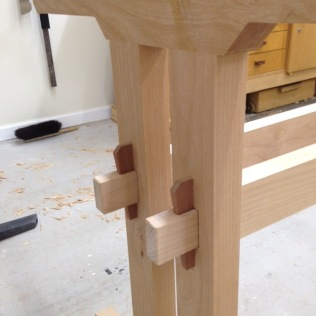 Close up of Wedged Tenons