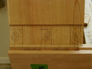 Transfer mortise to tenon, shade areas to be removed