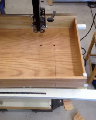 Bandsaw to cut out drawer