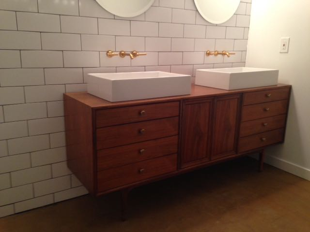 midcentury modern dresser to double vanity