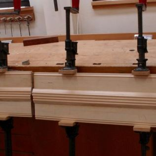 Frame parts glued and clamped