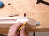Placed in jig and set to scribed line