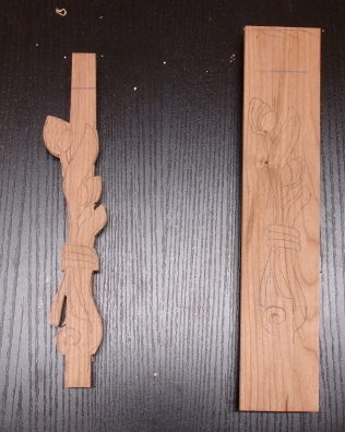 T-shaped Cherry with motif roughed out