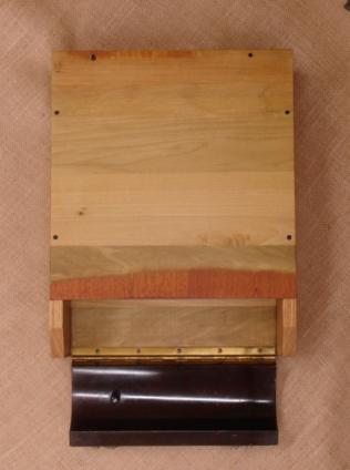 Top view, open, veneer and hinge