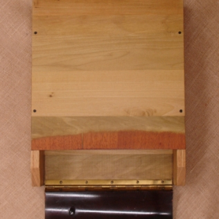 Top view, open, veneer and hinge