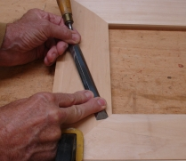 Scribing with paring chisel