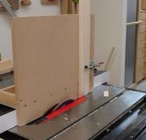 Cut at 73° with tenoning jig