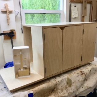 Cabinet complete -- looks just like Dianes model! There will be a step where the model is sitting