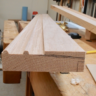 Dado between beads, ready for angled cut