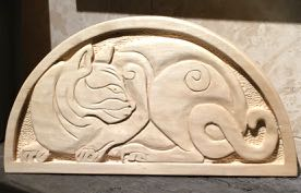 Stylized Cat on Basswood