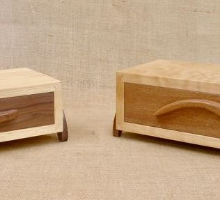 Drawers feature half-blind, hand cut dovetails