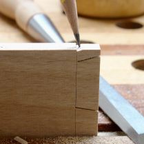 Chiseled notch to aid saw