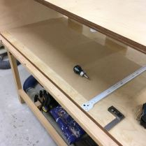 MDF cut to highest slide, drilled and attached